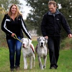 Len Williams and his wife Anne with Lily and Maddison Great Danes